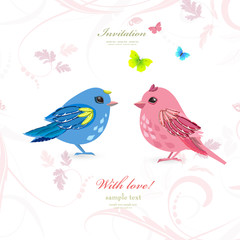 funny couple birds with butterflies for your design