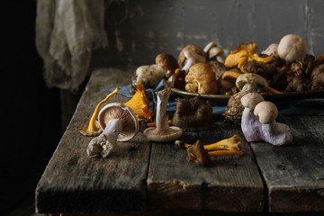 Mushrooms on a table.