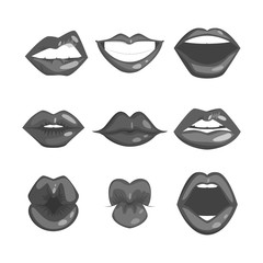 Woman lips silhouette vector illustration.