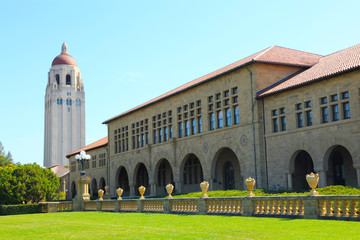 A photo of the bell tower and arches in the hallways of Stanford University