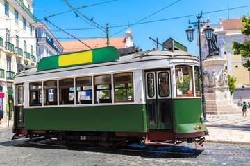 Vintage tram in  Lisbon