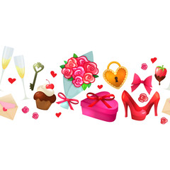 Colorful cartoon horizontal border with Valentine's Day icons. Vector.