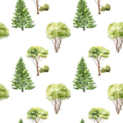 seamless pattern with trees drawing by watercolor