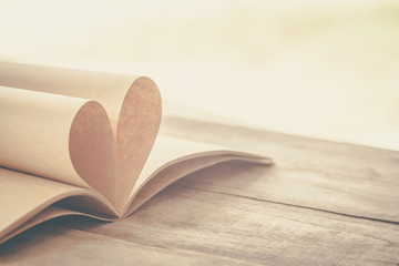 book page decorate to heart shape for love in valentine day wit
