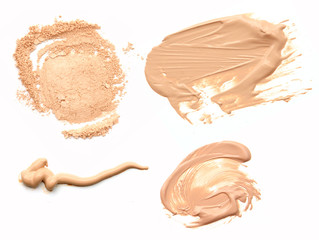 Collage of decorative cosmetics on white background. Beauty and makeup concept