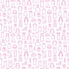 Fashion icons in seamless pattern