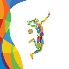 Abstract colorful pattern with female Badminton player