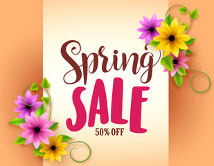 Spring sale vector banner design with realistic colorful flowers and vines in orange background for marketing promotion. Vector illustration.