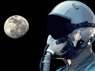 Close-up pilot wearing mask and helmet on black background with tHE MOON.