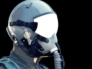 Pilot Wearing Mask And Helmet on black background with copy space. Military fighter pilot uniform.