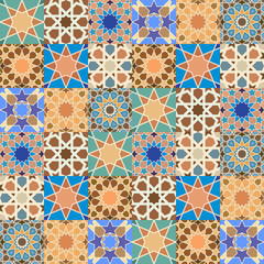 Traditional arabic tile mosaic background