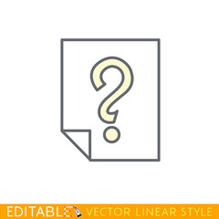 Page with a question mark. Editable line icon. Stock vector illustration.