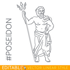 Poseidon. God of the sea, rivers, floods, droughts, and earthquakes. Series Greek gods. Editable line drawing. Stock vector illustration.