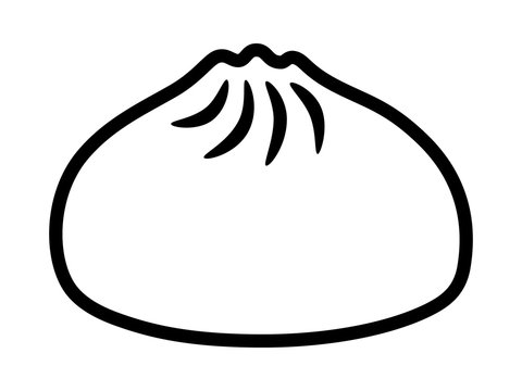 Baozi or bao - Chinese steamed bun line art vector icon for food apps and websites
