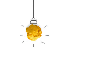 creative idea.Concept idea and innovation with paper light bulb on white background