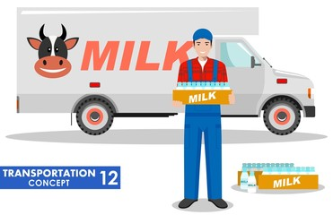 Transportation concept. Detailed illustration of driver, farmer and milk truck on white background in flat style. Vector illustration.
