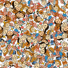 Vector seamless pattern of different babies faces