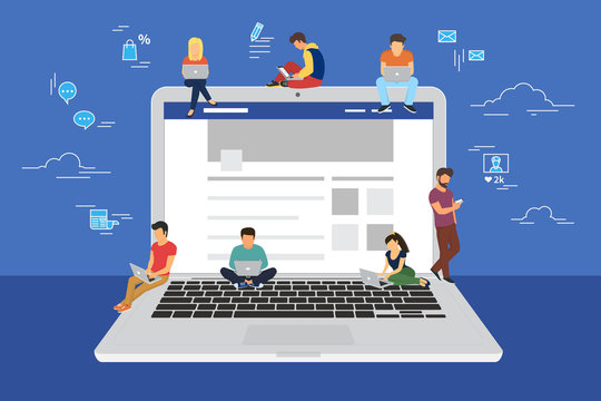 Social network web site surfing concept illustration of young people using mobile gadgets such as smarthone, tablet and laptop to be a part of online community. Flat guys and women on big notebook