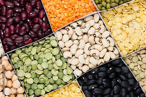 Pulses food background, assortment - legume, kidney beans