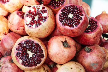 lots of ripe red pomegranate