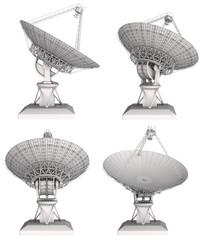 Radio telescope 3d image set. Isolated on white