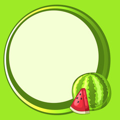 Round green frame with watermelon and slice. Vector illustration.