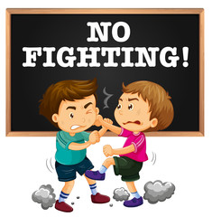 No fighting sign and boy fighting
