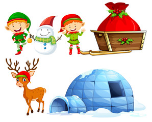 Christmas characters and igloo