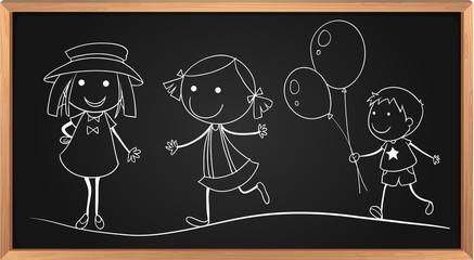 Doodles of children on board