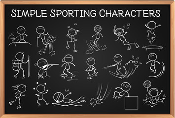 Simple sporting characters on blackboard