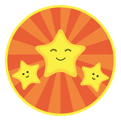 Round sticker with an orange radial background and three yellow stars in cartoon style.