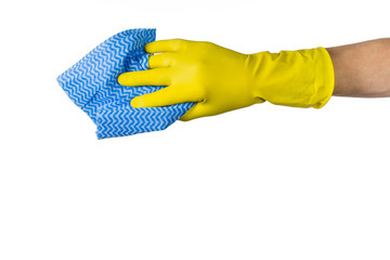 Man's or woman's hand cleaning with blue microfiber cloth on a white background. Concept product photograph with copy space