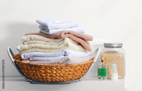 Woven Basket Procedure : Quot clean towels in wicker basket and set for spa procedure