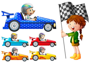 Kids in racing cars