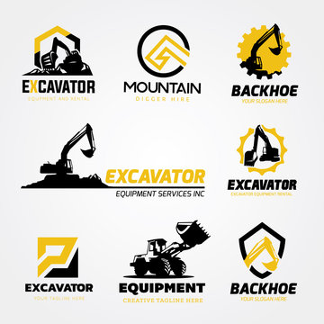 logo collection set of Backhoe excavator equipment service template.
