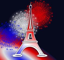tour Eiffel Paris feu d'artifice bleu blanc rouge France