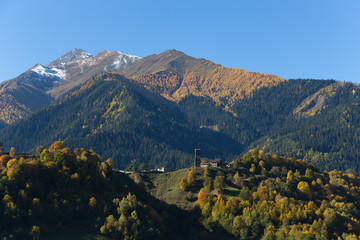 Beautiful autumn mountain landscape in Svaneti. Georgia