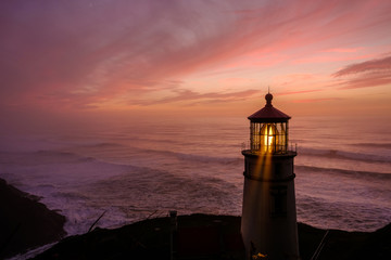 Heceta Head Lighthouse at sunset, built in 1892