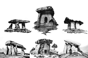 Set of color dolmens, megaliths,watercolor Wall mural