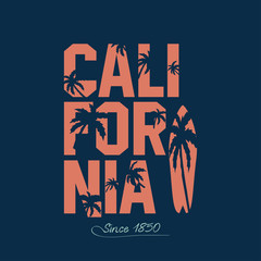California beach Typography Graphics. Palms and surfboard. T-shirt Printing Design for sportswear apparel. Vector illustration of a surfing in California. Sports wear print design