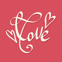 Love lettering. Vector freehand letters. Valentine greeting card