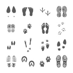 Various Footprints Set Black On White