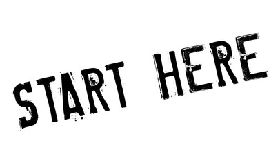 Start Here rubber stamp. Grunge design with dust scratches. Effects can be easily removed for a clean, crisp look. Color is easily changed.