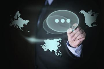 Businessman mit Konzept globale Vernetzung