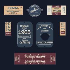 Set of denim labels. Vintage original blue jeans raw denim labels, t-shirt graphics