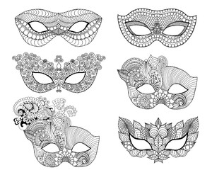 Mardi gras lace mask set