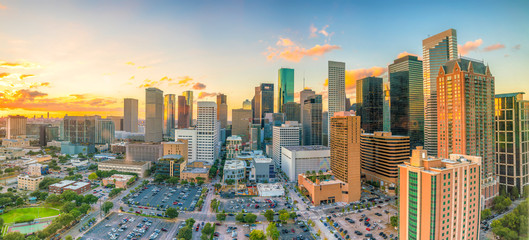 Autocollant pour porte Etats-Unis Downtown Houston skyline