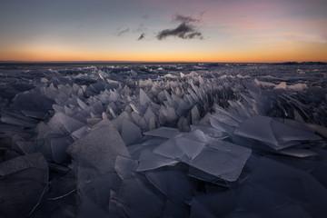 Ice stacks at lake Peipus, Estonia
