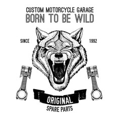 Wild wolf Vector image for motorcycle t-shirt, tattoo, motorcycle club, motorcycle logo