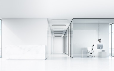 white office with marble desk